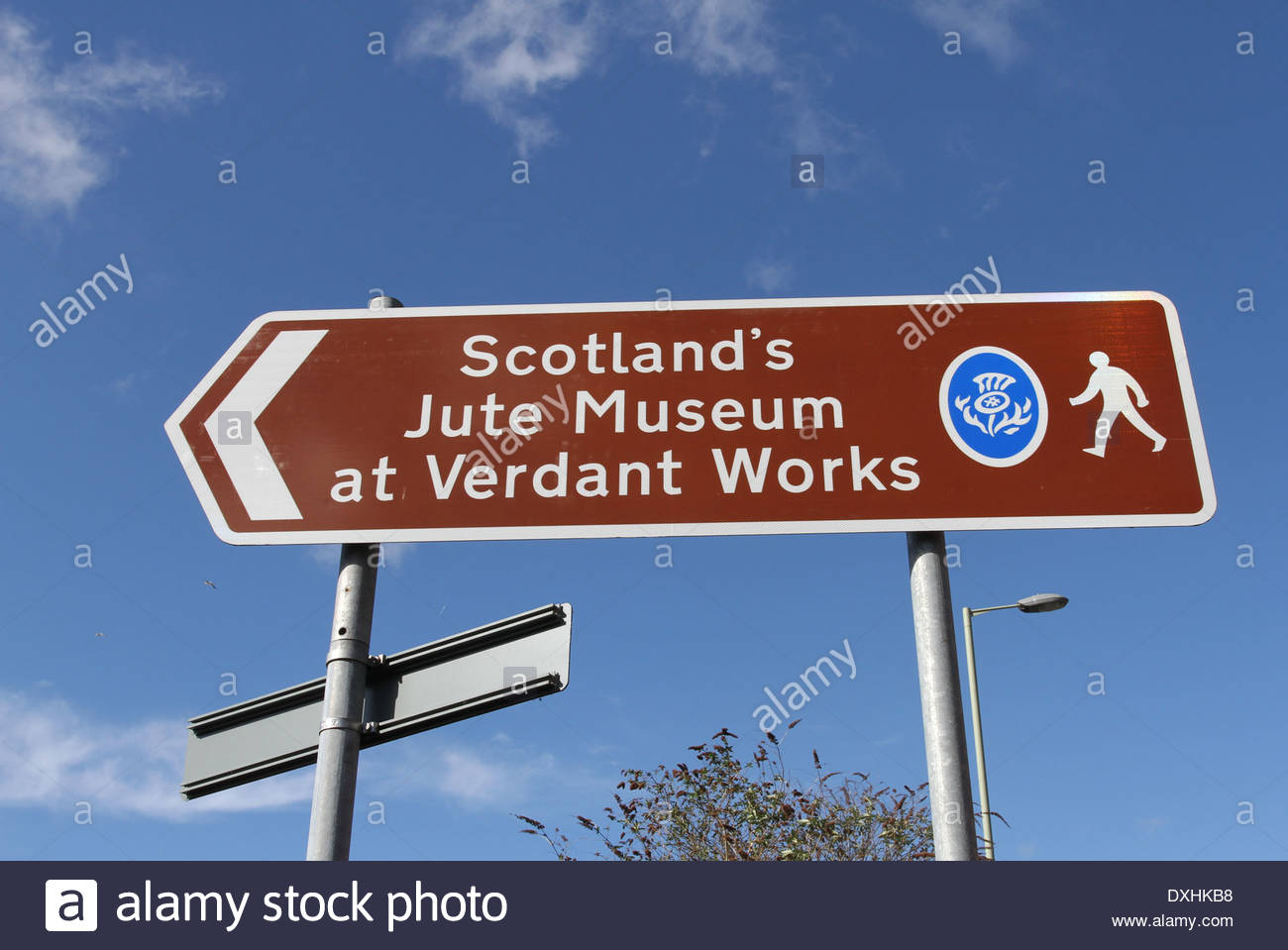 Sign for Verdant Works Jute Mill Museum Dundee Scotland March 2014 - Stock Image