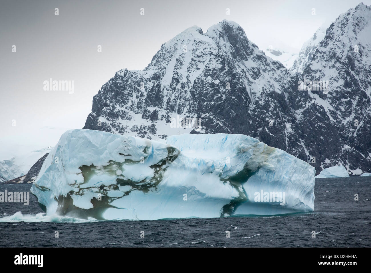 Icebergs off the South Orkney Islands, just off the Antarctic Peninsular. This area is one of the most rapidly warming - Stock Image