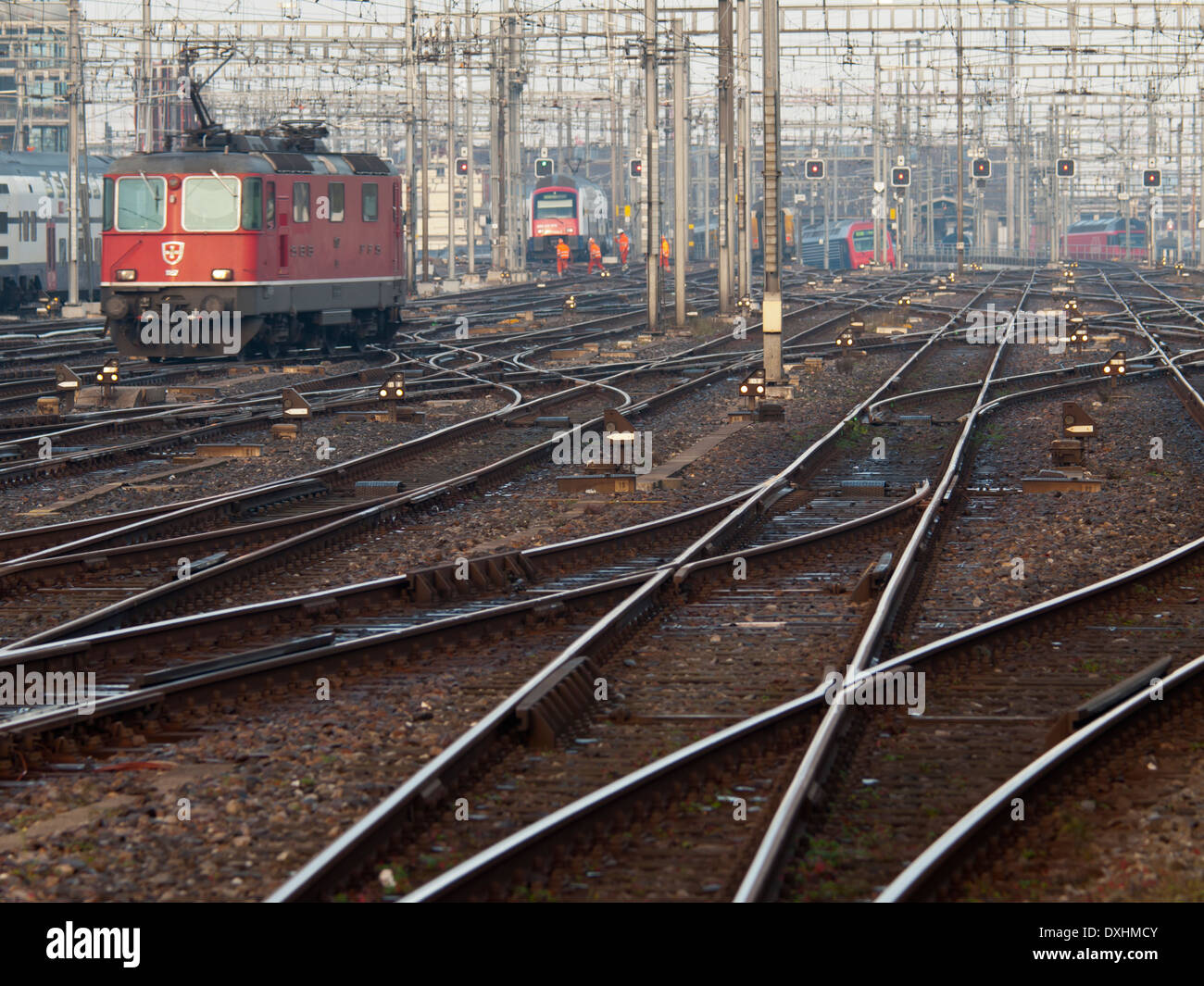 A train of the Swiss national railroad company SBB is approaching Zurich main station. Stock Photo