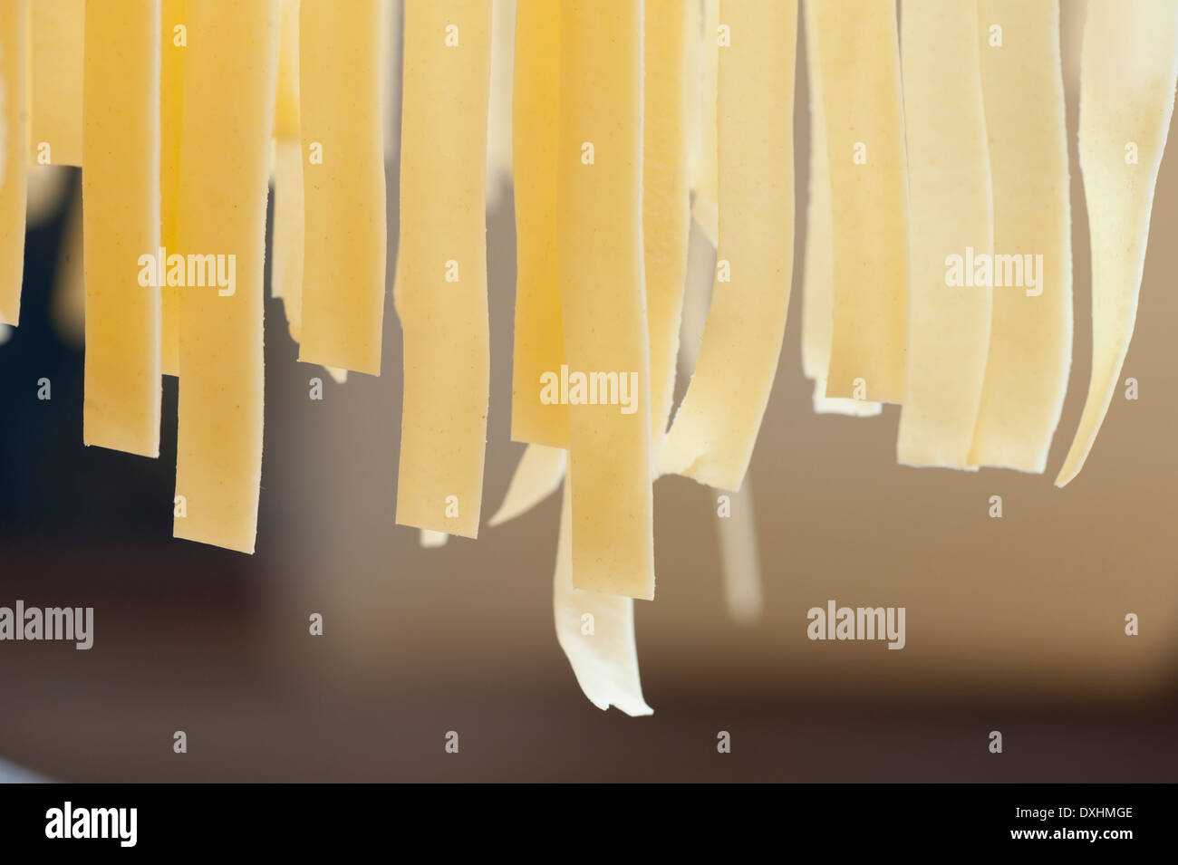 Fresh handmade Italian pasta hanging off a rack before cooking - Stock Image
