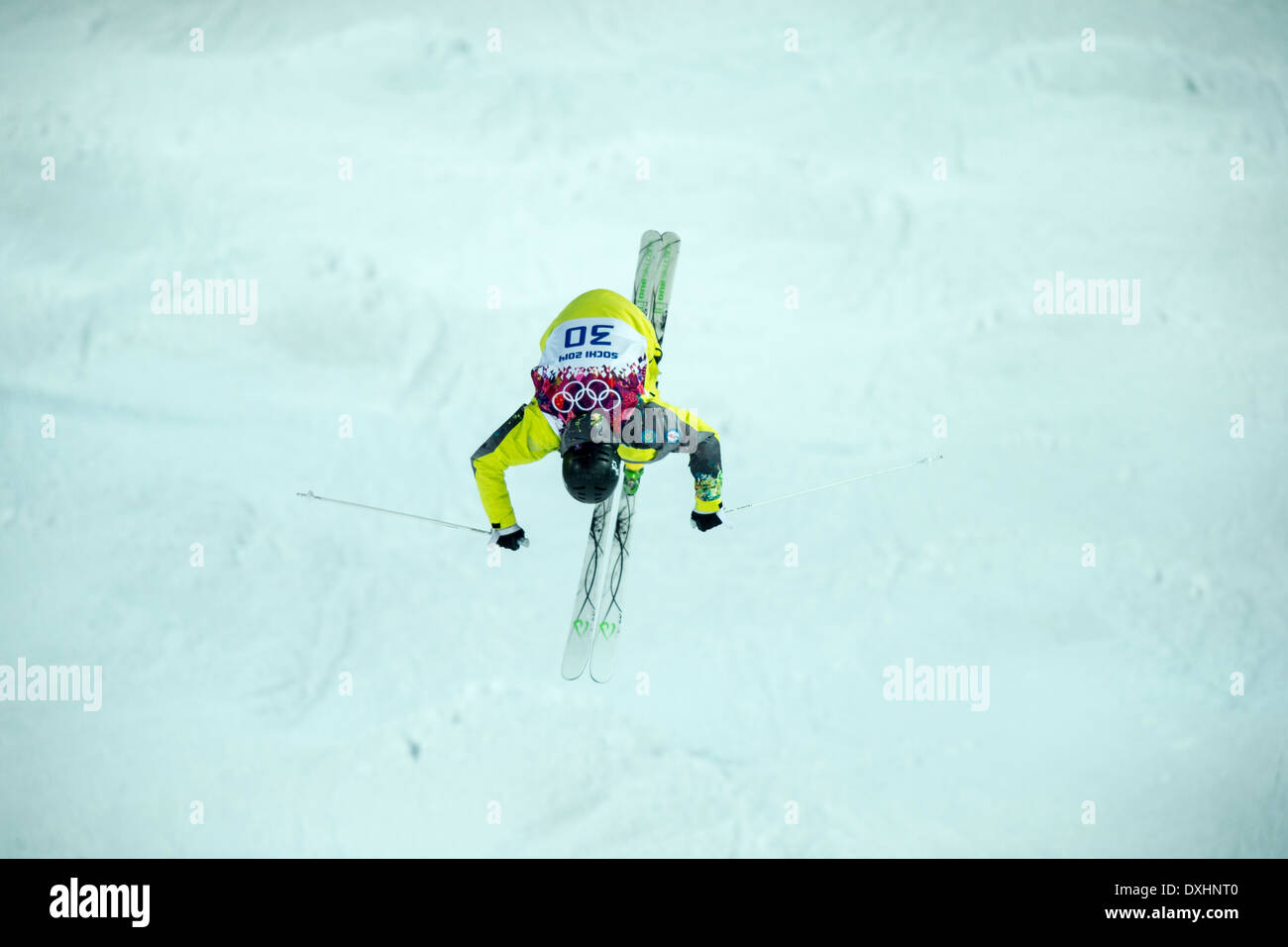 Pavel Kolmakov (KAZ) freestyle skier competing in Men's Moguls at the Olympic Winter Games, Sochi 2014 - Stock Image