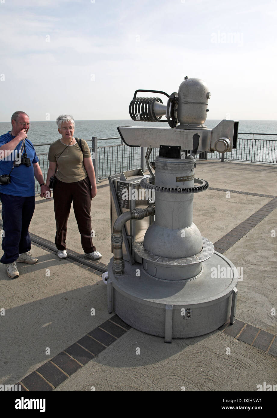 A pretend, joke, fantasy machine called The Quantom Tunnelling Telescope by Tim Hunkin, Southwold pier, Suffolk, England, - Stock Image