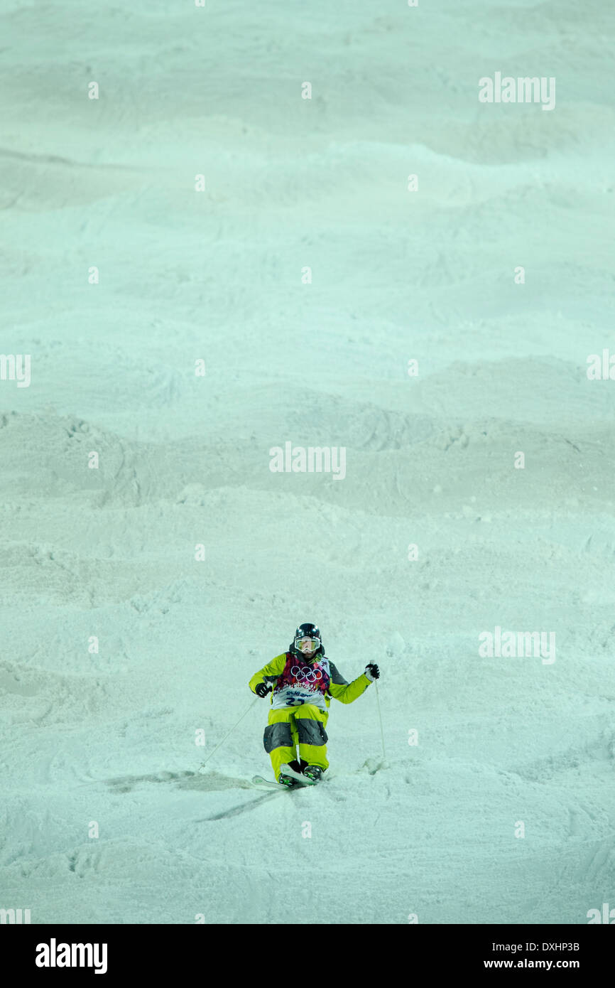 Dmitriy Barmashov (KAZ) freestyle skier competing in Men's Moguls at the Olympic Winter Games, Sochi 2014 - Stock Image