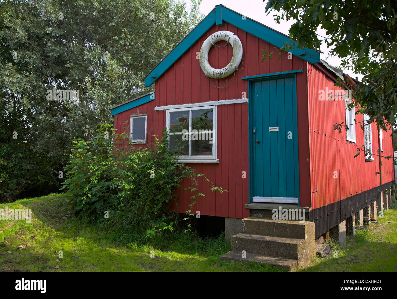Small wooden holiday home house cabin, Walberswick, Suffolk, - Stock Image