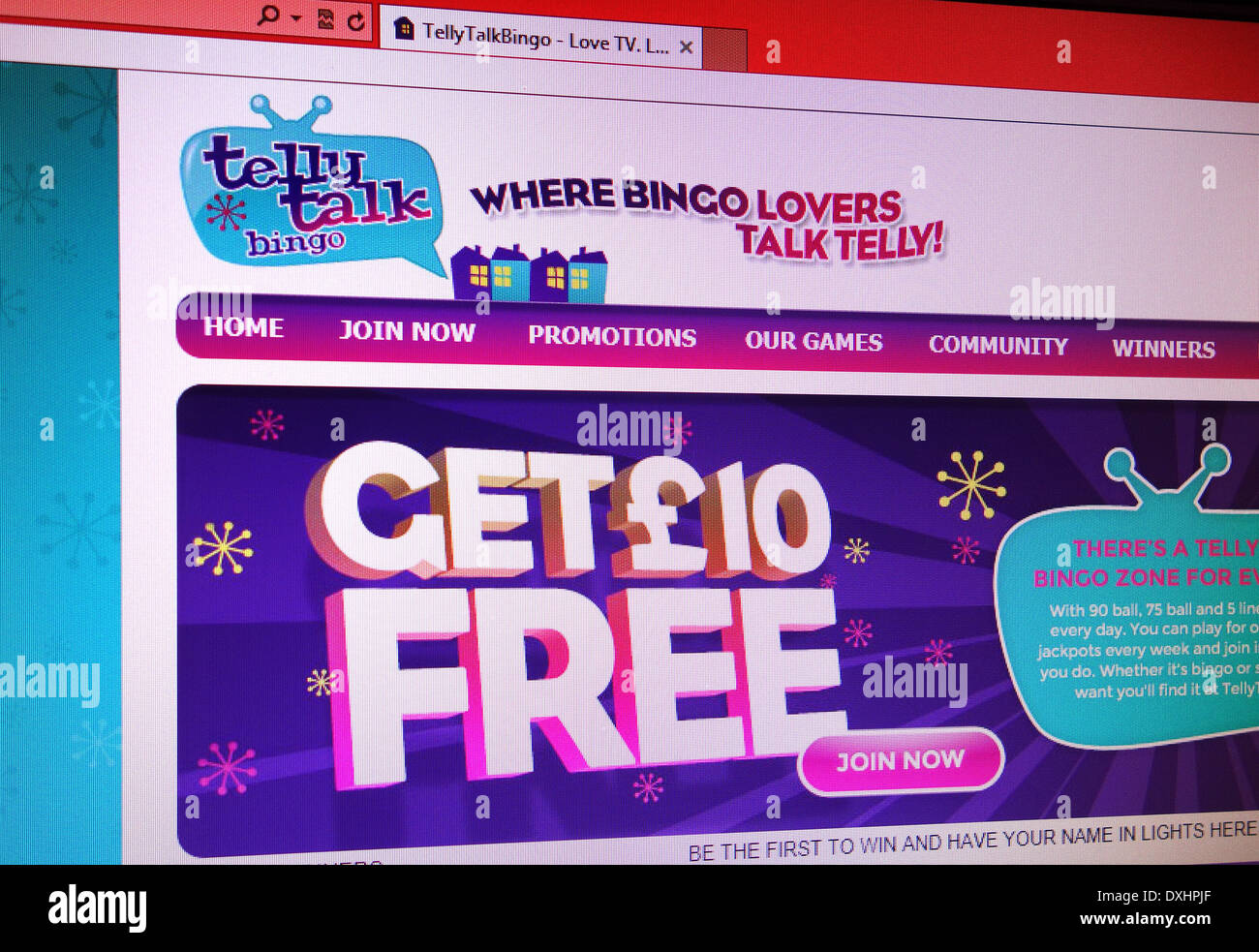 Telly Talk Bingo website - Stock Image