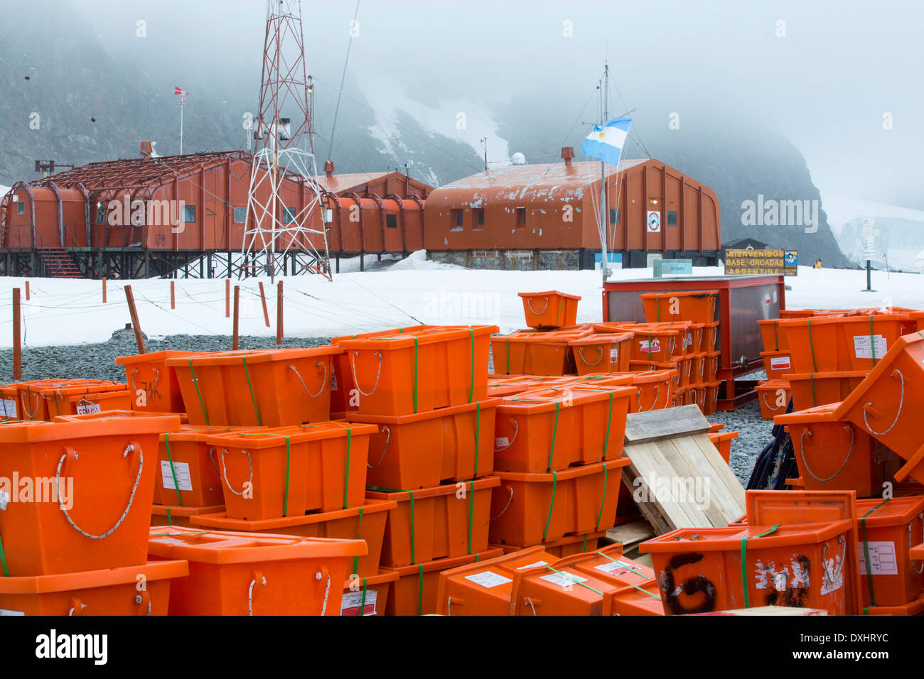 Supplies at Base Orcadas which is an Argentine scientific station in Antarctica, and the oldest of the stations in Antarctica - Stock Image