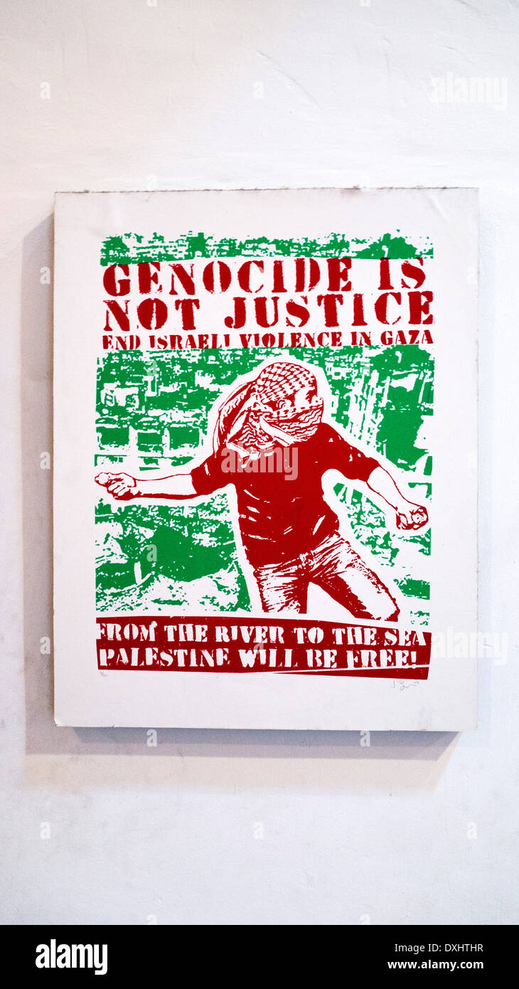 pro Palestine Palestinian anti Israeli original numbered poster hanging on interior wall leftist cafe in Centro Historico Oaxaca - Stock Image