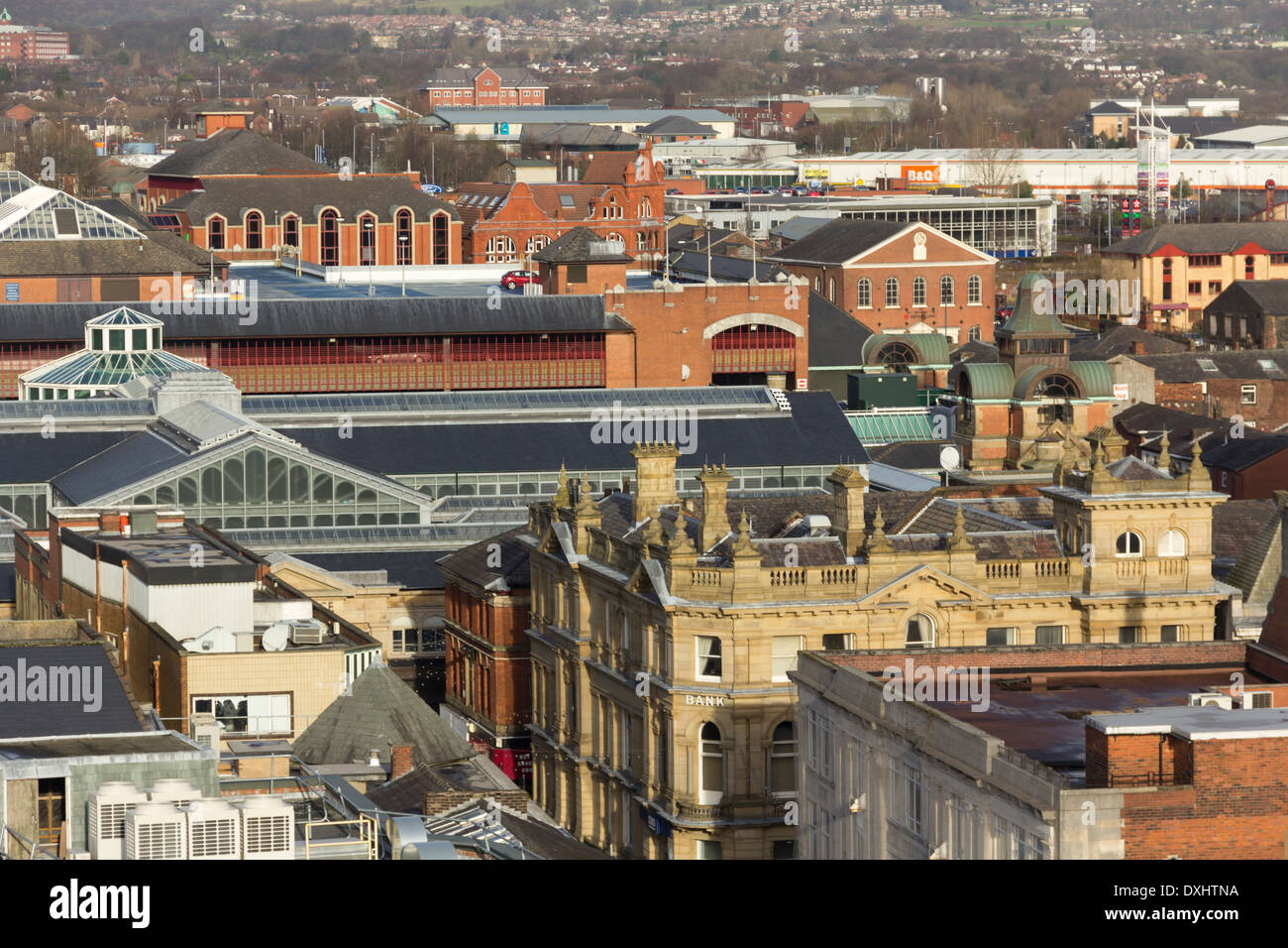 Rooftops of Bolton town centre looking north from Victoria square, dominated by the RBS bank building and The Market Place. - Stock Image
