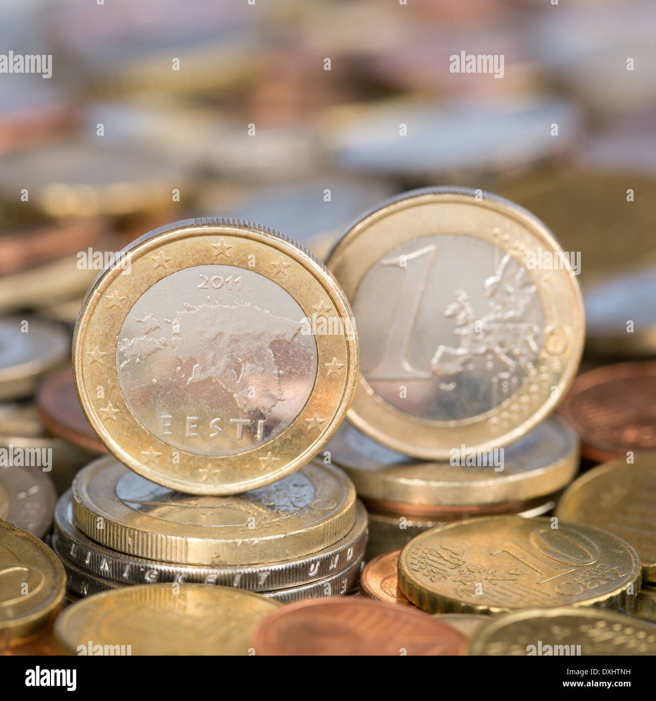 A one Euro coin from the European Union currency member country Estonia - Stock Image