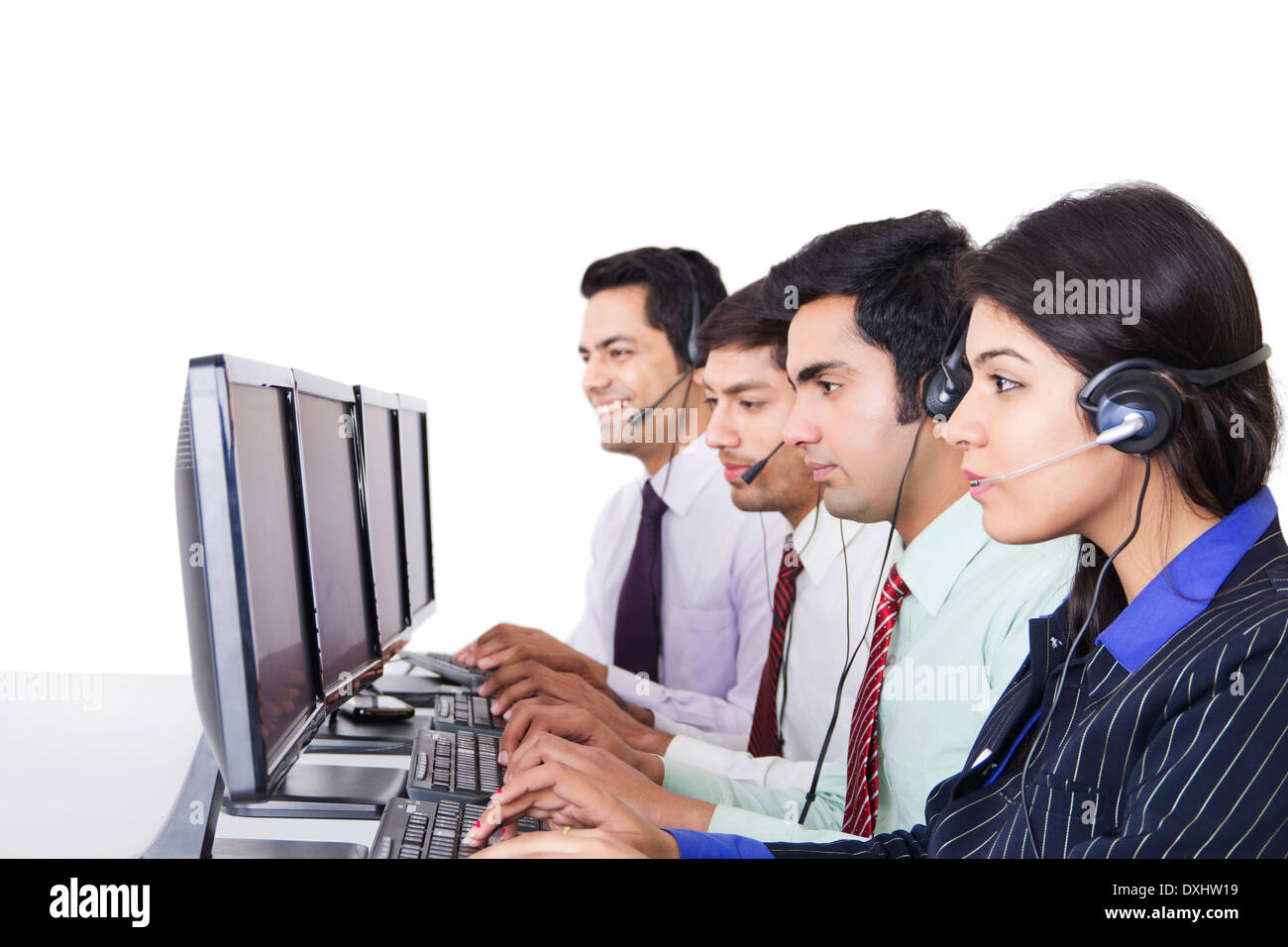 Indian Business People Working in  call centre - Stock Image