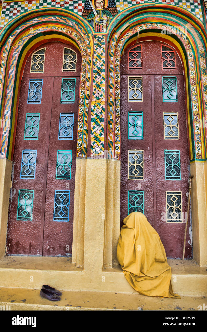 pilgrim at the St. Maryam of Sion Church in Axum, Ethiopia - Stock Image