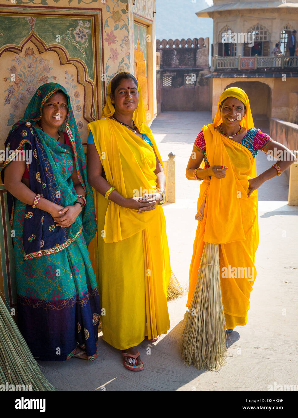 Indian women at Amer Fort, Rajasthan, India - Stock Image