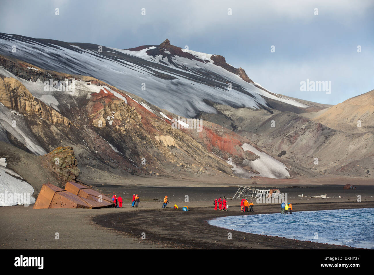 The old abandoned whaling station on Deception Island in the South Shetland Islands off the Antarctic Peninsular Stock Photo