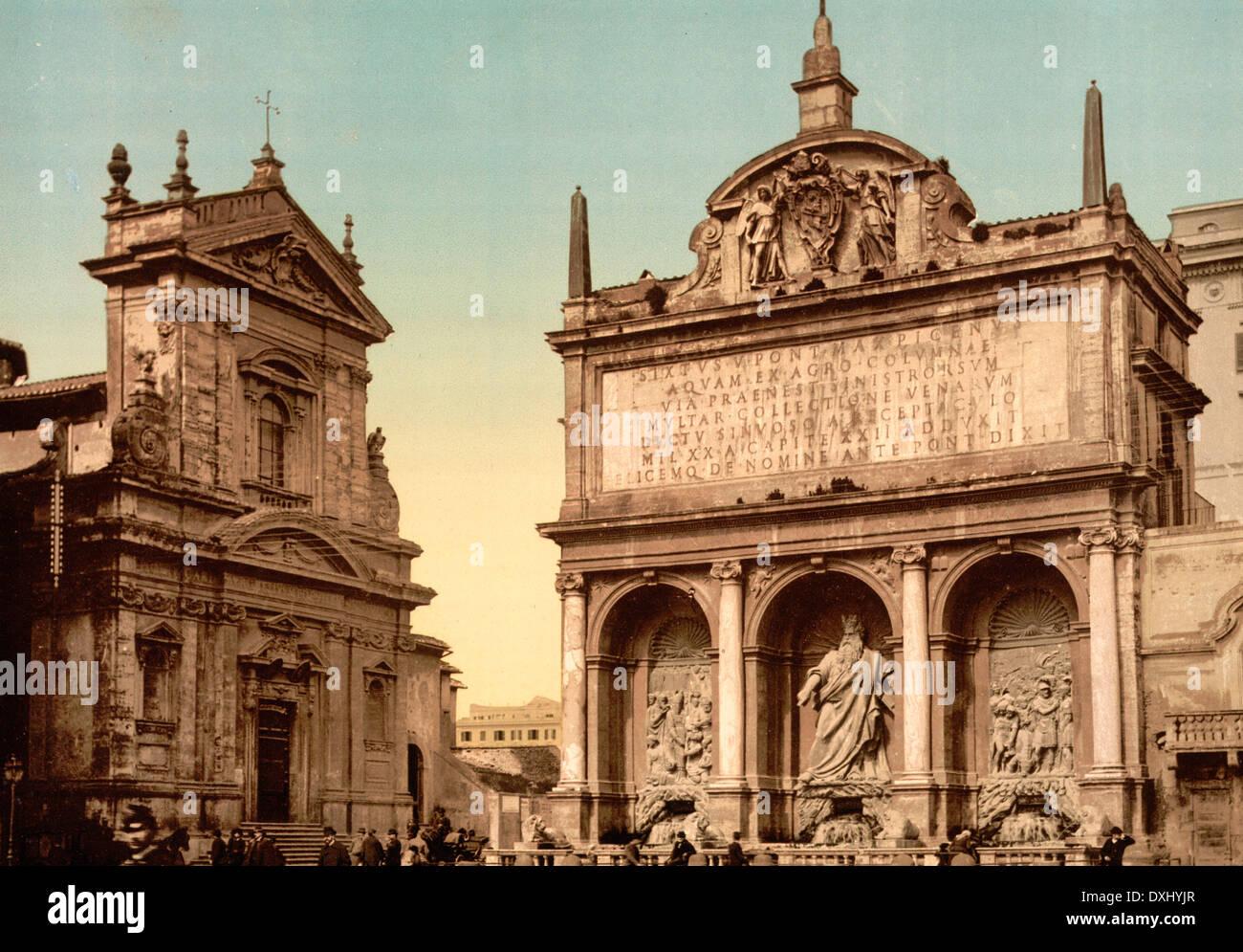 Fountain 'Acqua Felice', Rome, Italy, circa 1900 - Stock Image