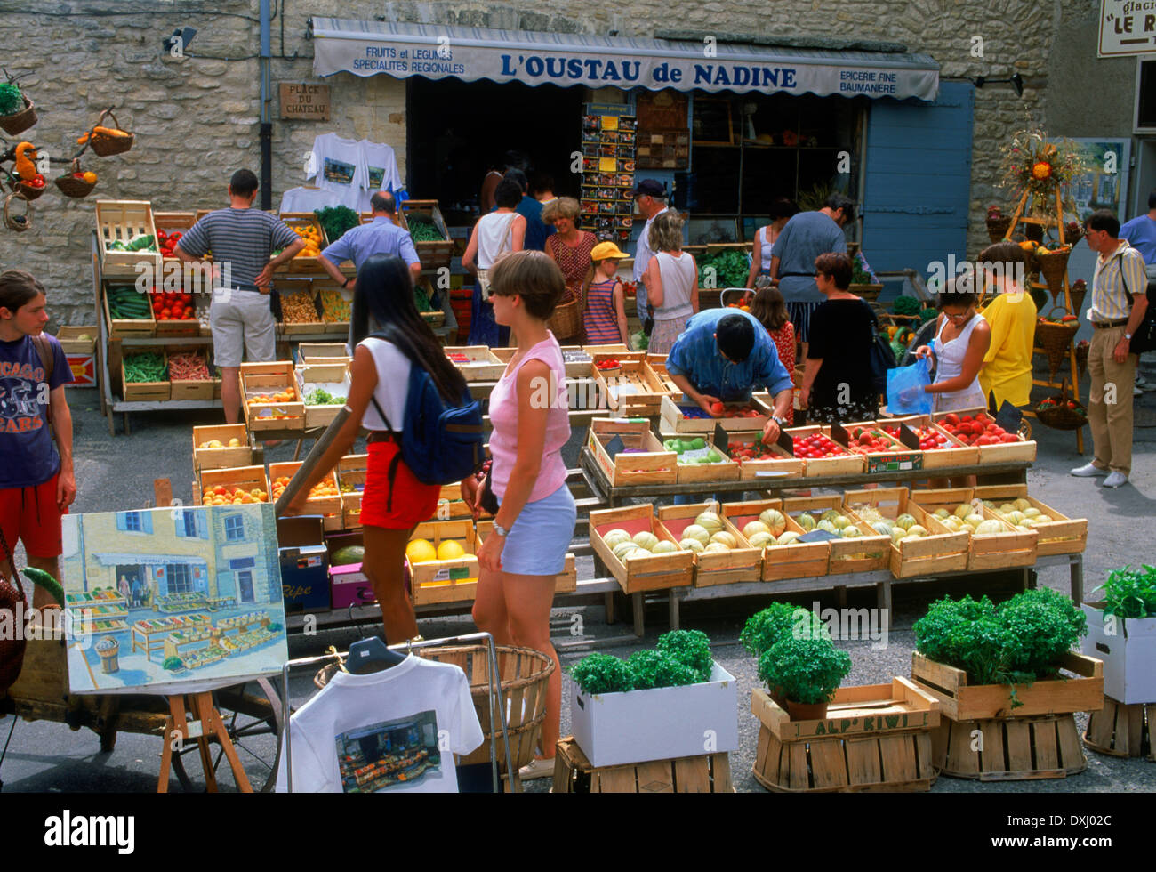 Fruit and vegetable shop and outdoor markets at village of Gourdes in Provence France - Stock Image