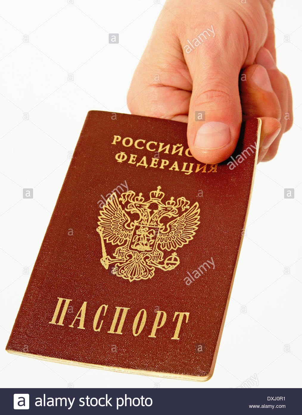Acquisition of Russian citizenship and handing Russian passports. - Stock Image