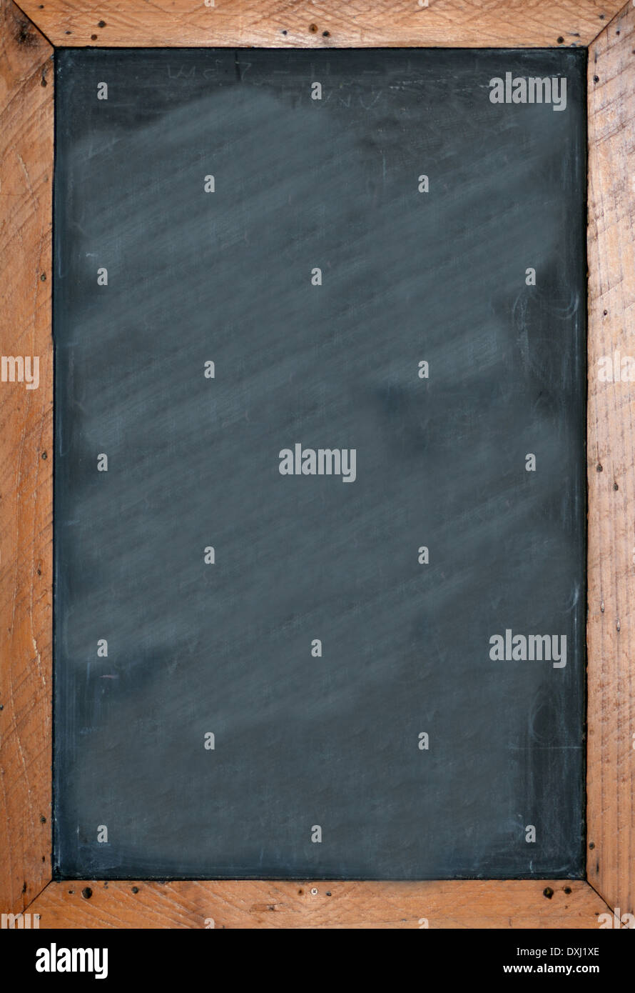 Blank chalkboard with brown wooben frame. Empty space for insertion and to add text. - Stock Image