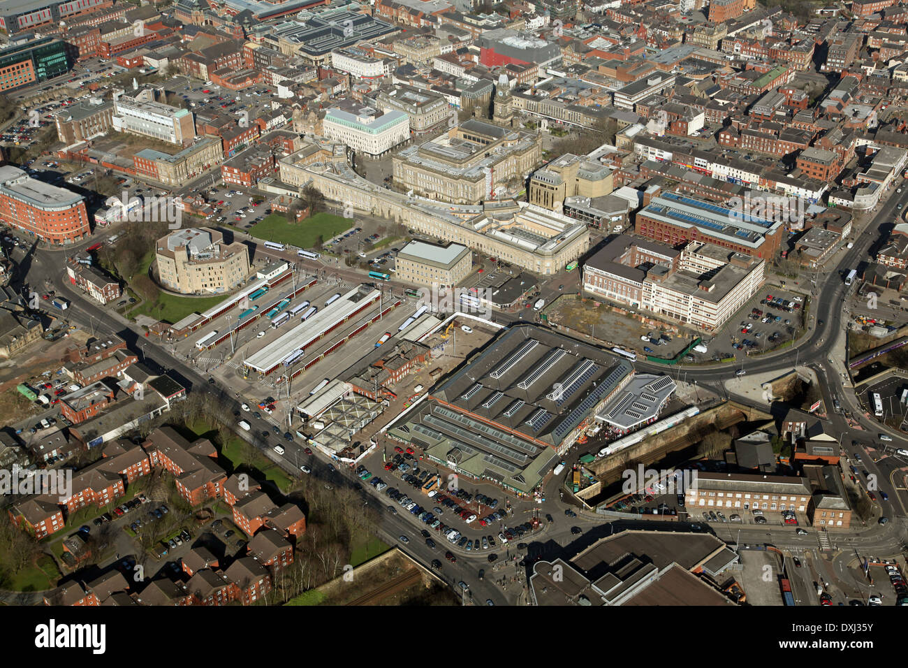 aerial view of Bolton including the town centre, bus station, markets and Town Hall - Stock Image