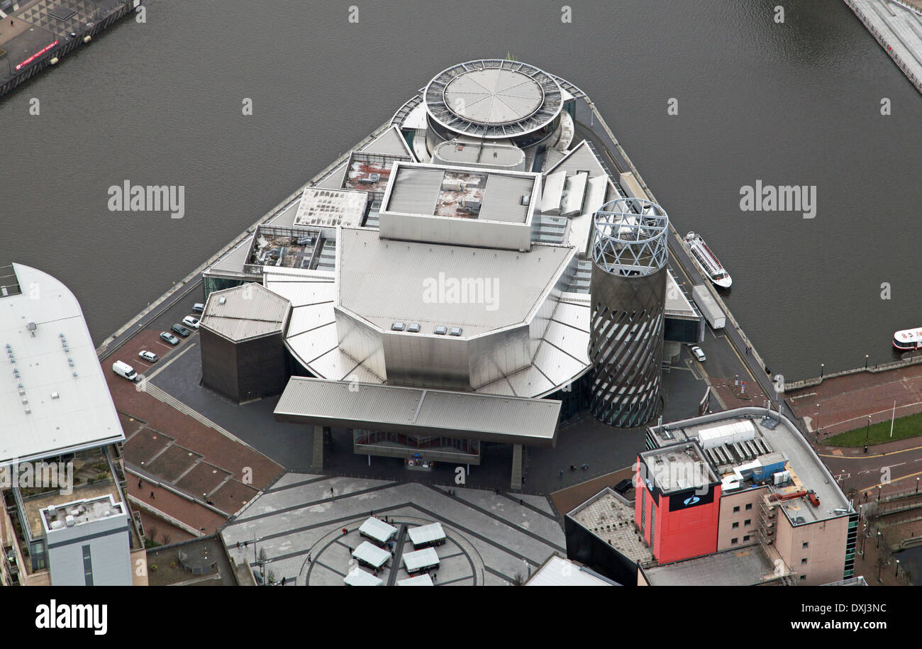aerial view of The Lowry Centre auditorium theatre in Salford Quays, Manchester - Stock Image