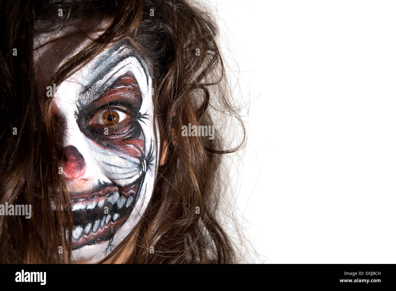 Teenage Girl Scary Clown Face Stock Photos Teenage Girl Scary