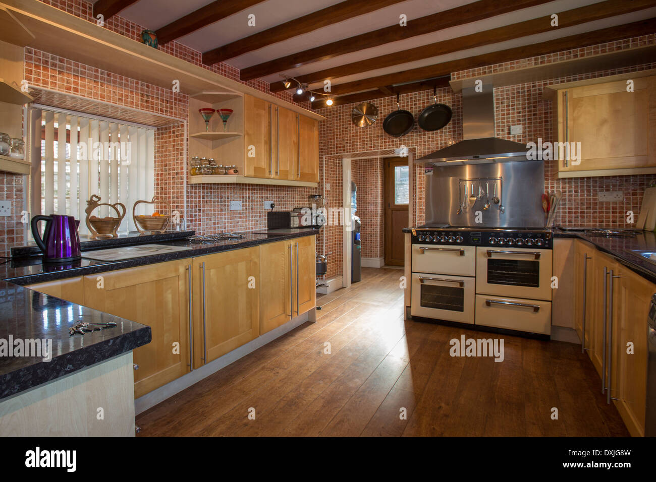 A Fitted Kitchen In A Farmhouse In Yorkshire In Northeast England.