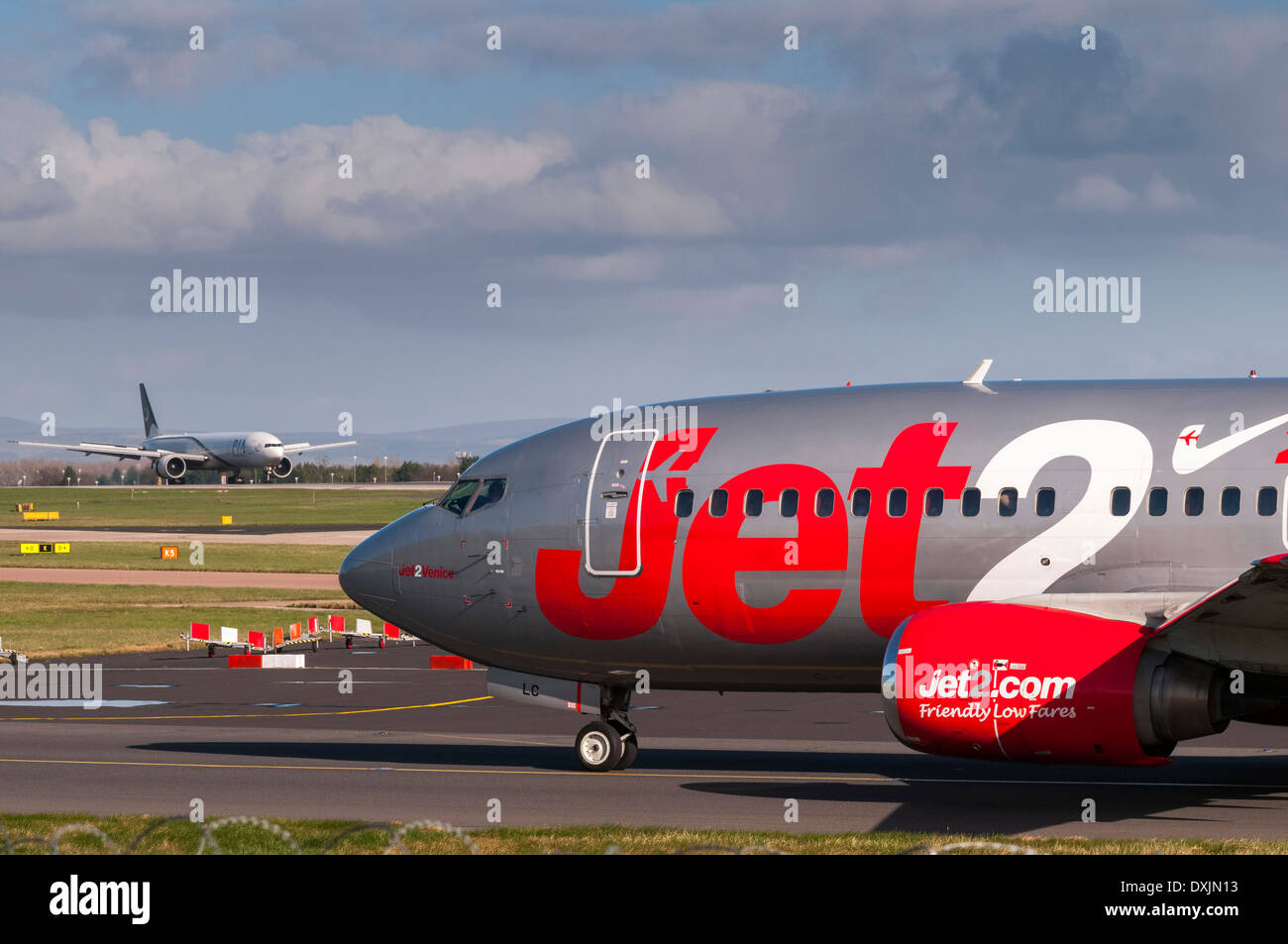Aircraft at Manchester airport. Jet2 Boeing 737 - Stock Image