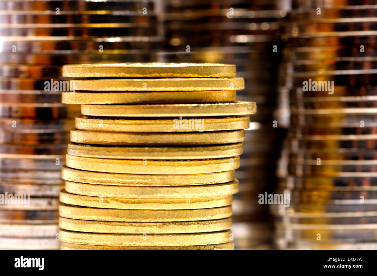 Piles of coins - Stock Image