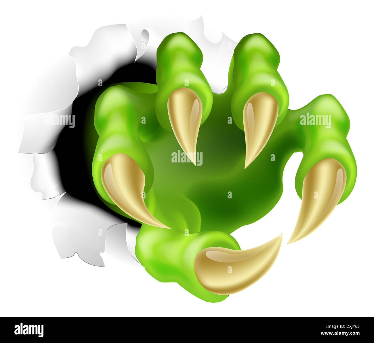 Monster claw hand ripping a tear through the background - Stock Image