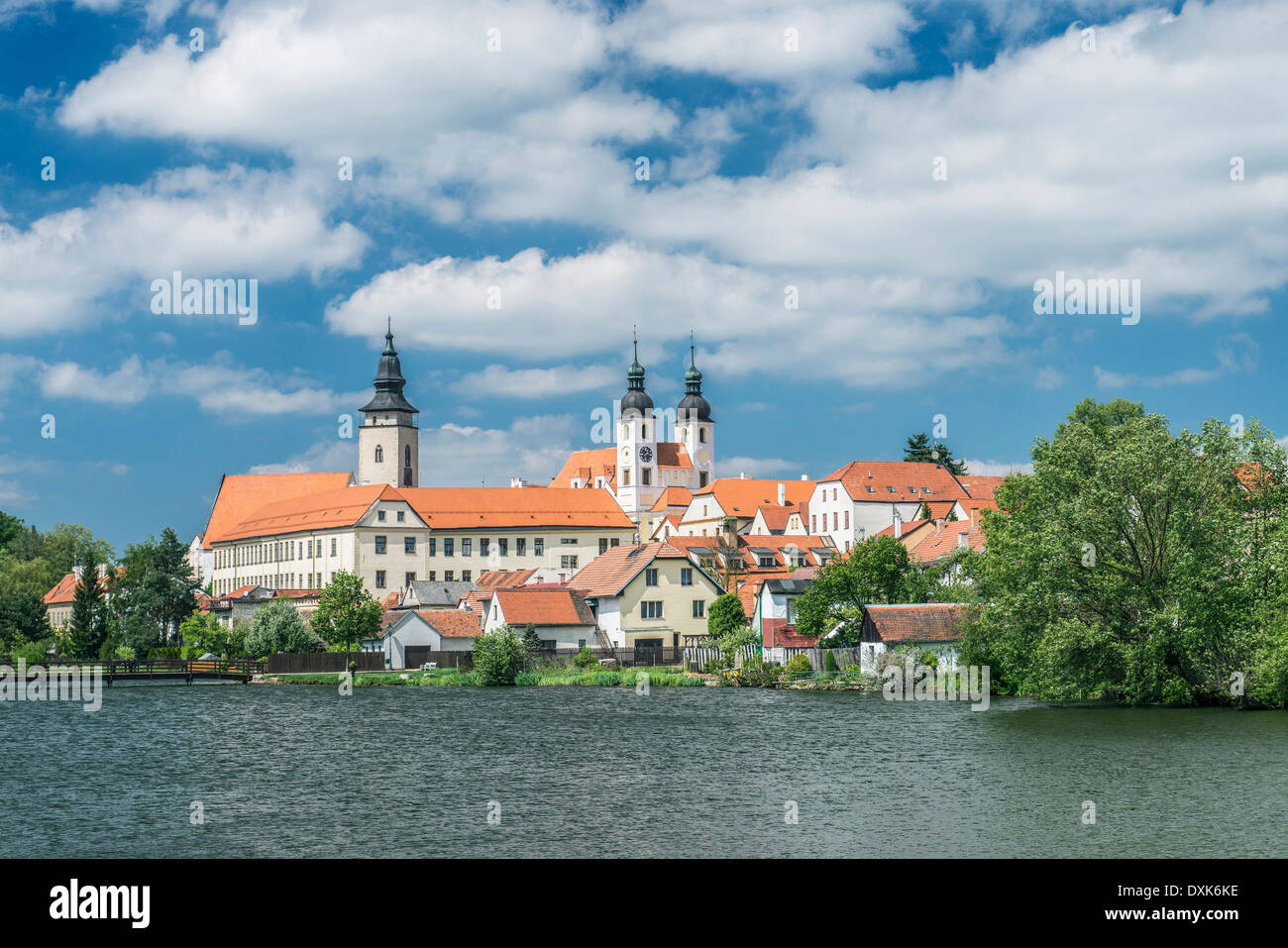 Strahov Monastery on lake, Prague, Central Bohemia, Czech Republic - Stock Image