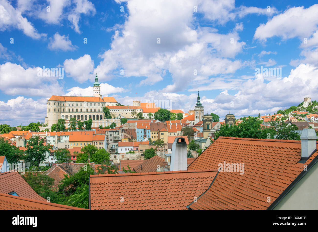 Rooftops and castle, Prague, Czech Republic - Stock Image