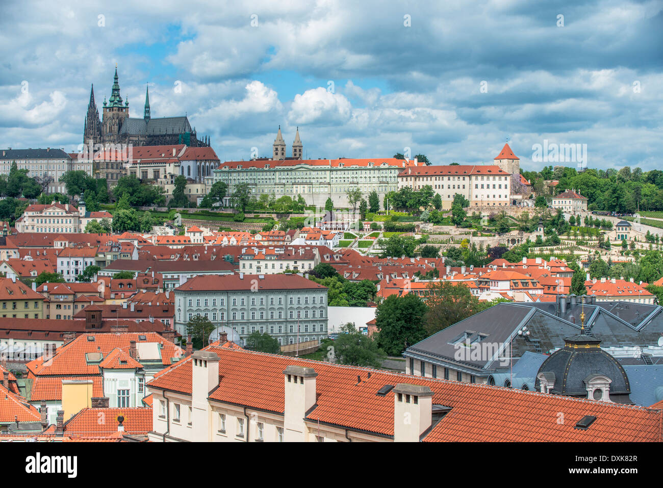 Prague Castle and city, Prague, Central Bohemia, Czech Republic - Stock Image