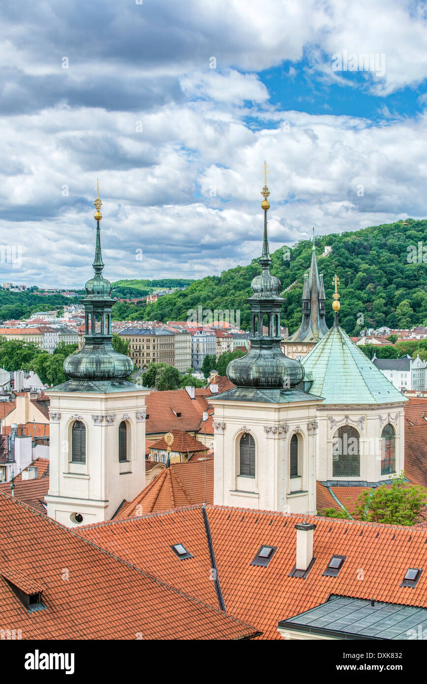 Towers and rooftops, Prague, Central Bohemia, Czech Republic - Stock Image