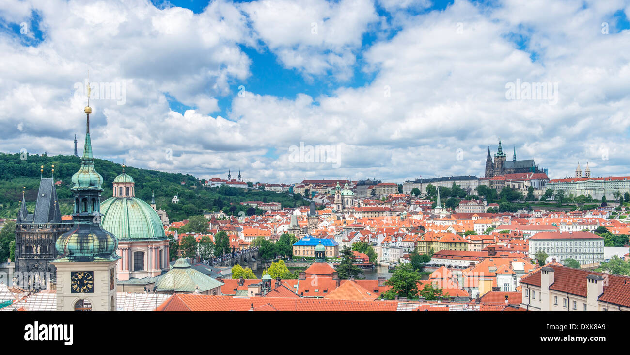Prague Castle and cityscape, Prague, Central Bohemia, Czech Republic - Stock Image