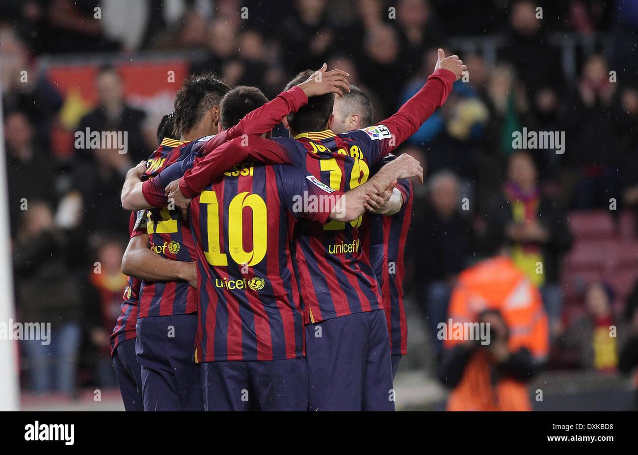 26.03.2014  Barcelona, Neymar celebring his first goal during the Liga BBVA game between Barcelona and Celta Vigo from Camp Nou - Stock Image