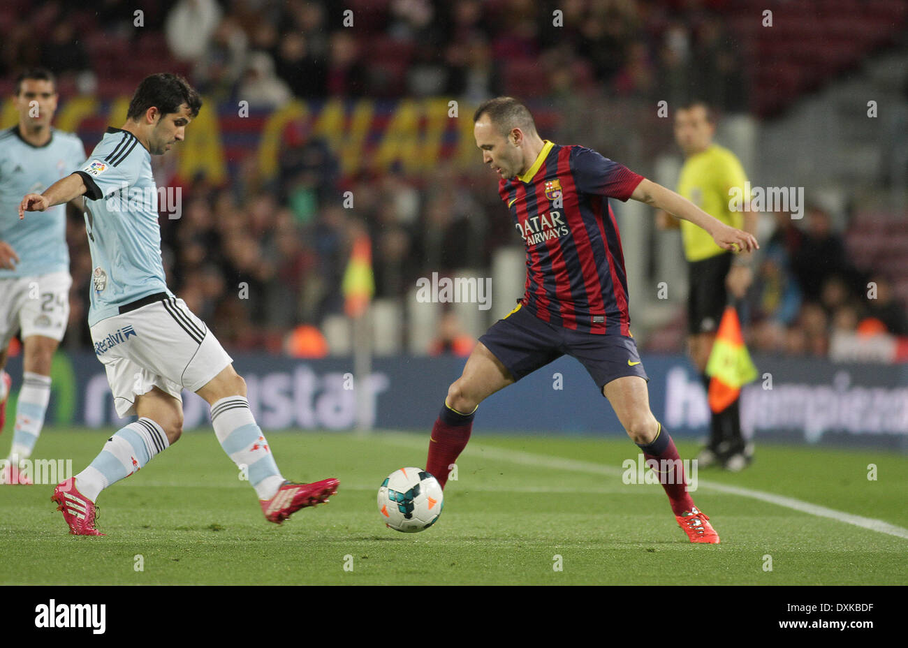 26.03.2014  Barcelona, Spain.  Iniesta  in action during the Liga BBVA game between Barcelona and Celta Vigo from Camp Nou - Stock Image