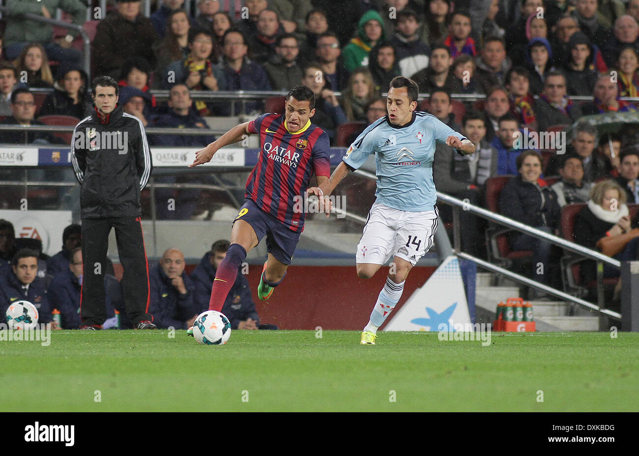 26.03.2014  Barcelona, Spain.  Alexis  in action during the Liga BBVA game between Barcelona and Celta Vigo from Camp Nou - Stock Image