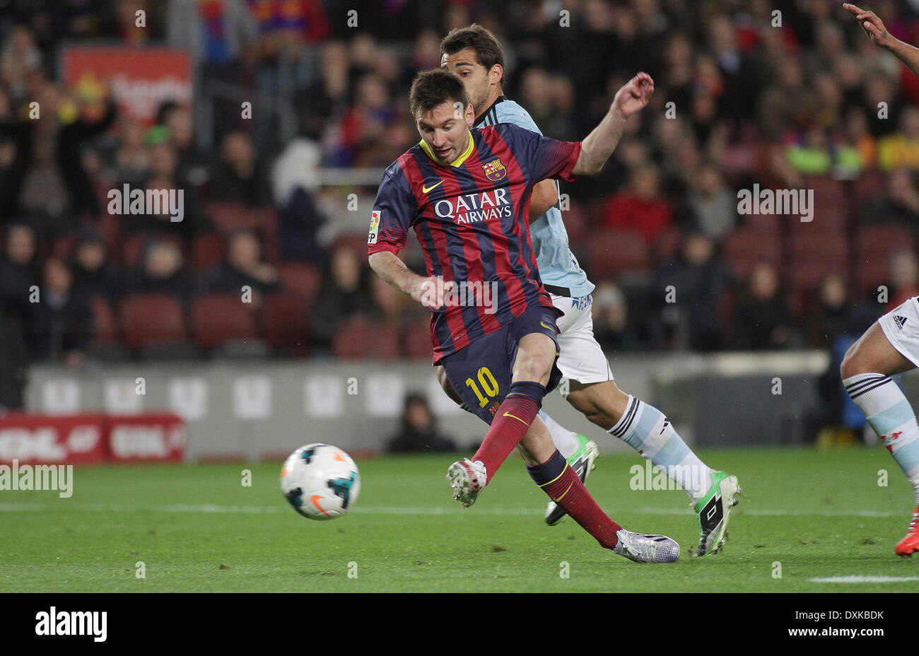 26.03.2014  Barcelona, Spain.  Messi  in action during the Liga BBVA game between Barcelona and Celta Vigo from Camp Nou - Stock Image