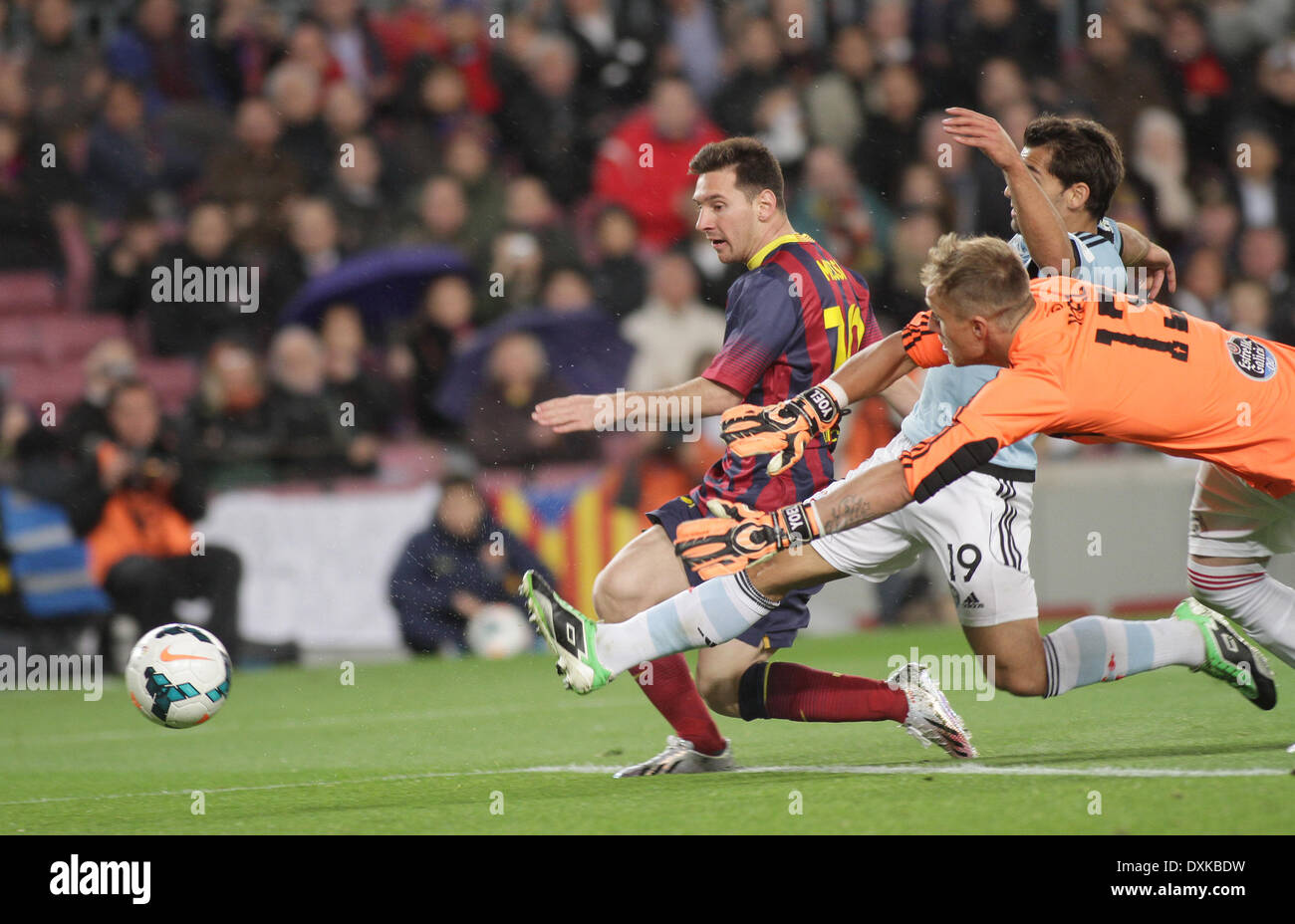 26.03.2014  Barcelona, Spain. Shots for a foal during the Liga BBVA game between Barcelona and Celta Vigo from Camp Nou - Stock Image