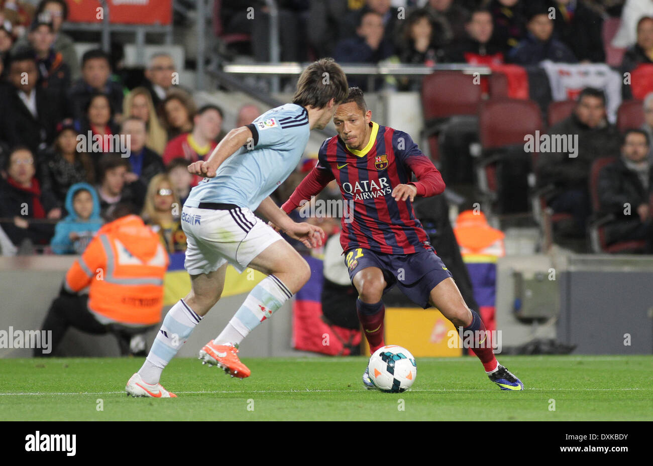 26.03.2014  Barcelona, Spain.  Adriano  in action during the Liga BBVA game between Barcelona and Celta Vigo from Camp Nou - Stock Image