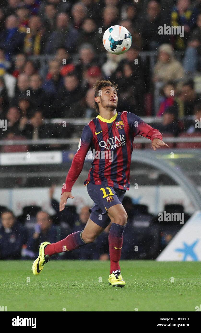 26.03.2014  Barcelona, Spain.  Neymar  in action during the Liga BBVA game between Barcelona and Celta Vigo from Camp Nou - Stock Image