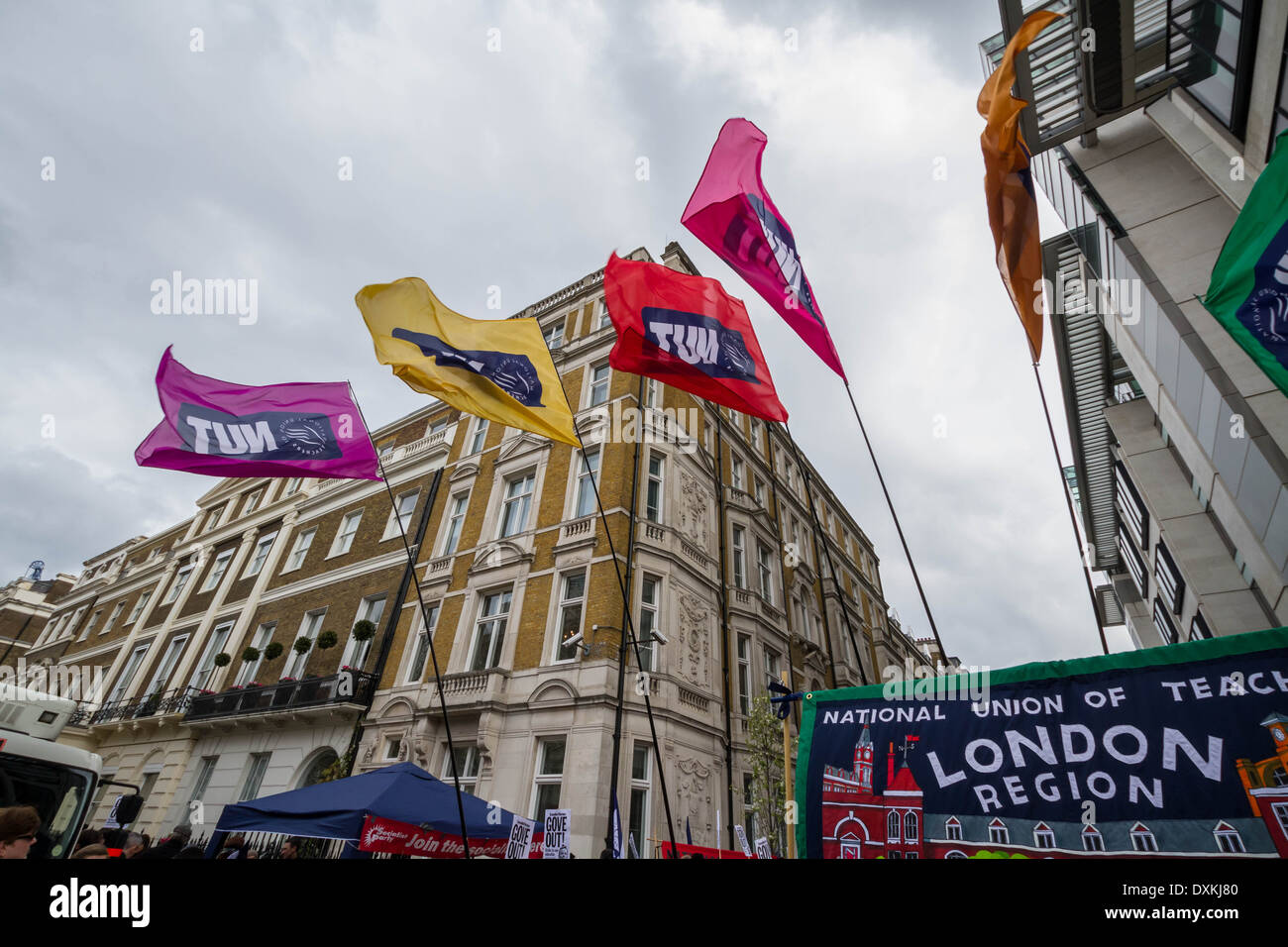 Thousands of teachers and supporters march through London on NUT Strike Day - Stock Image