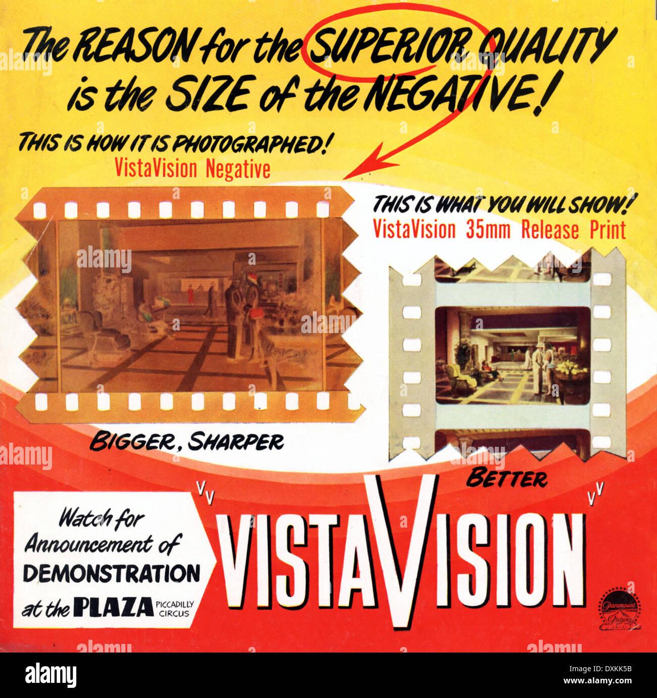 VISTAVISION ADVERTISEMENT - Stock Image