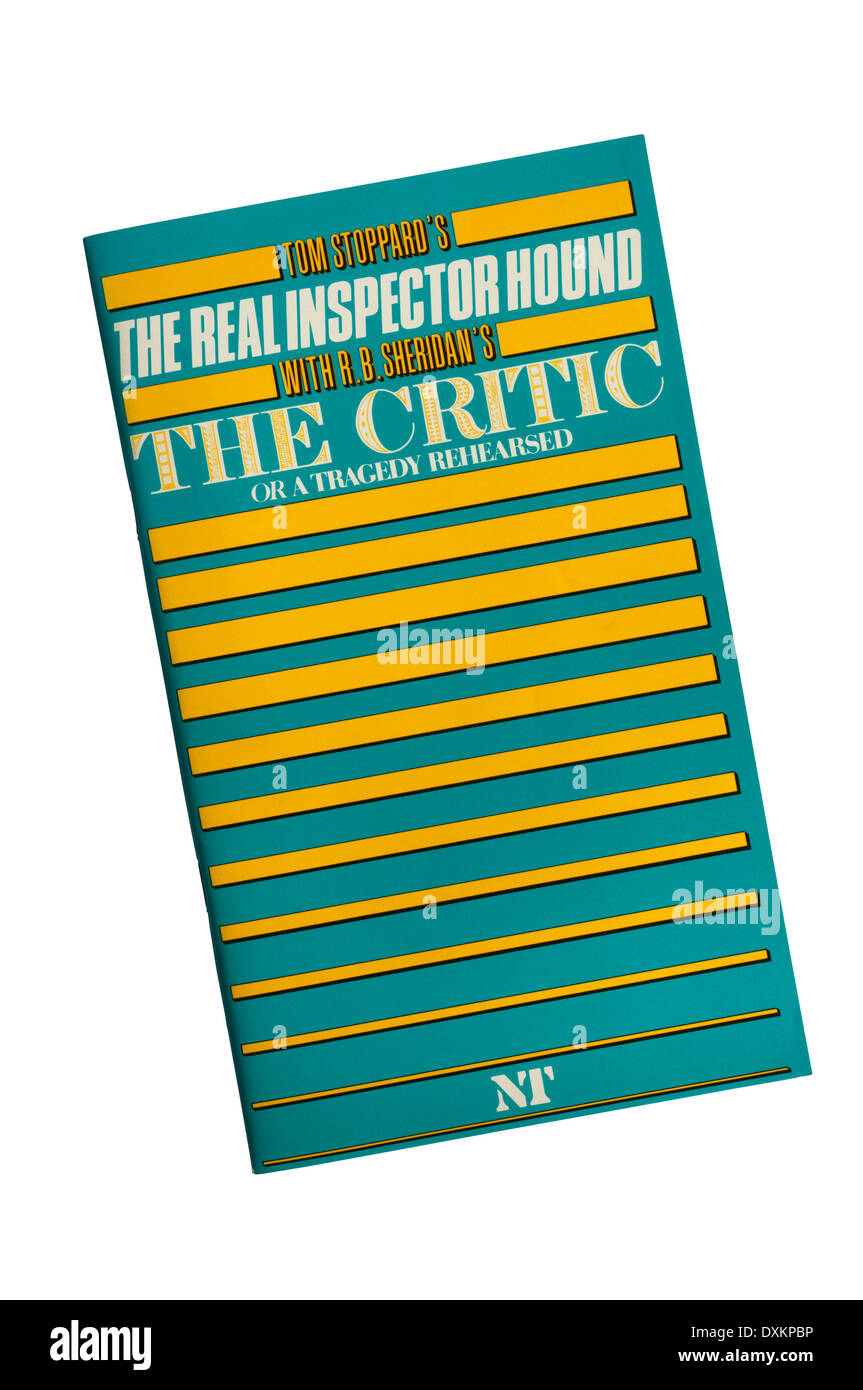 Programme for the 1985 National Theatre double bill of The Real Inspector Hound by Tom Stoppard and The Critic by R B Sheridan. - Stock Image