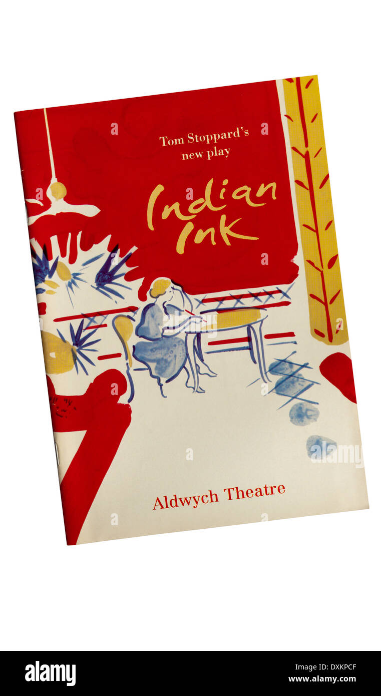 Programme for the 1995 production of Indian Ink by Tom Stoppard, at the Aldwych Theatre. - Stock Image
