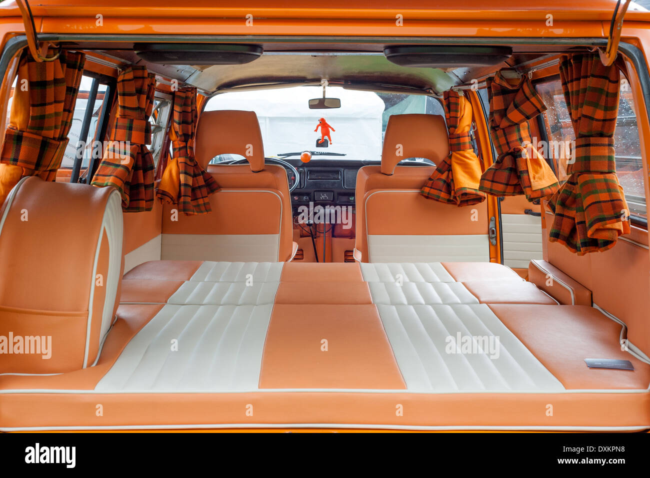 Restored Interior Of A Volkswagen Camper Van