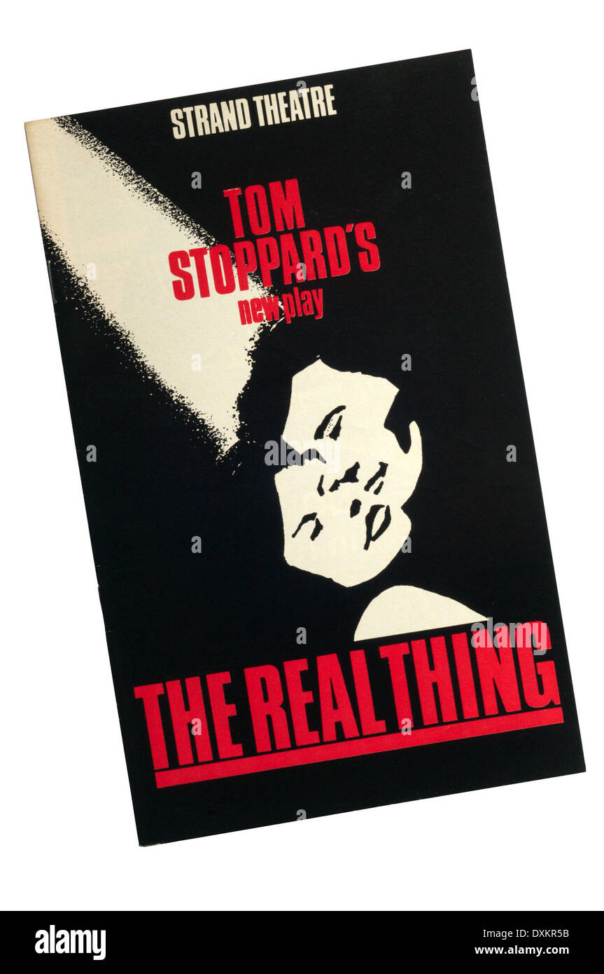 Programme for the 1982 production of The Real Thing by Tom Stoppard at the Strand Theatre. - Stock Image