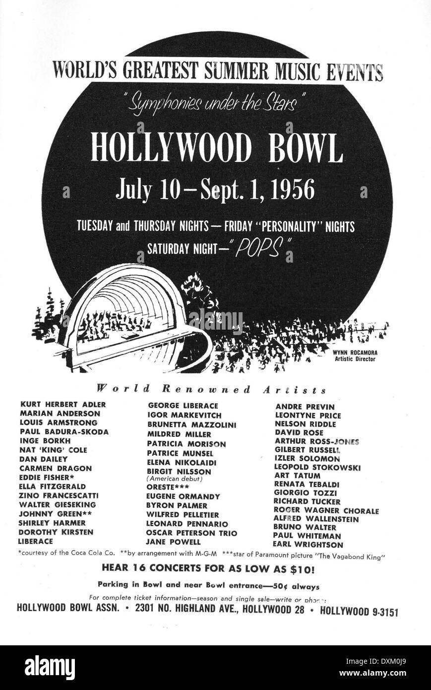 AD FOR THE HOLLYWOOD BOWL - Stock Image