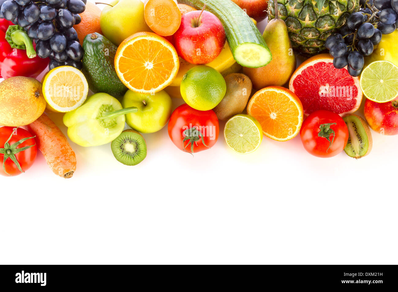 A pile of fresh, healthy fruits and vegetables on white. Stock Photo