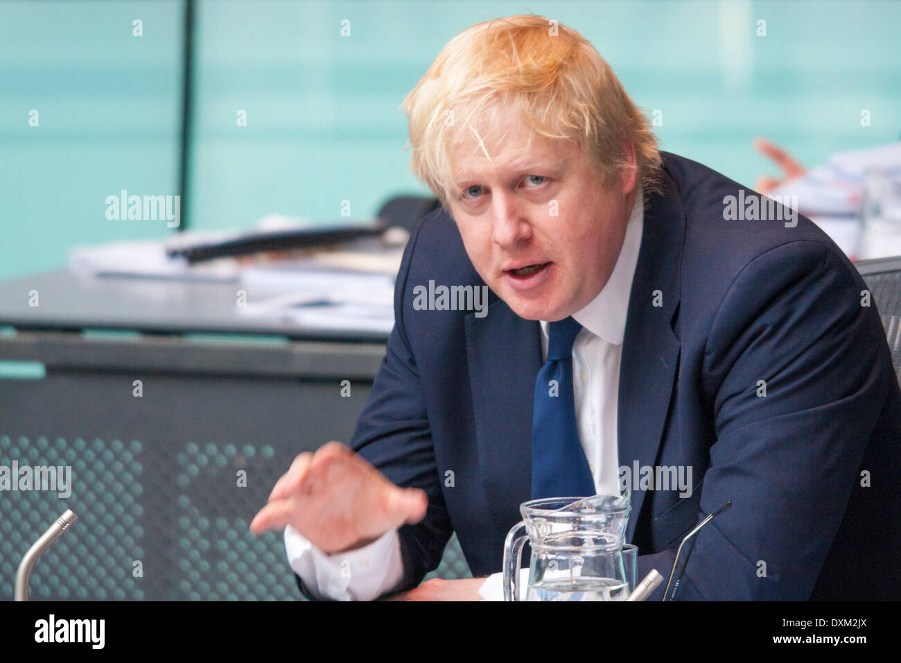 London, March 27th 2014. Mayor of London Boris Johnson speaks as the Police and Crime Committee of the London Assembly question him on undercover policing and the governance of the Metropolitan Police. Credit:  Paul Davey/Alamy Live News - Stock Image