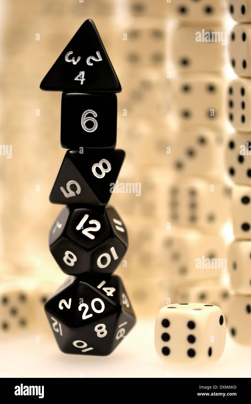 Dice - normal six-sided and polyhedron gaming dice - Stock Image